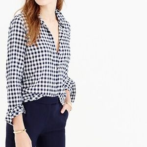 J.Crew Perfect Fit Crinkle Gingham Button Up